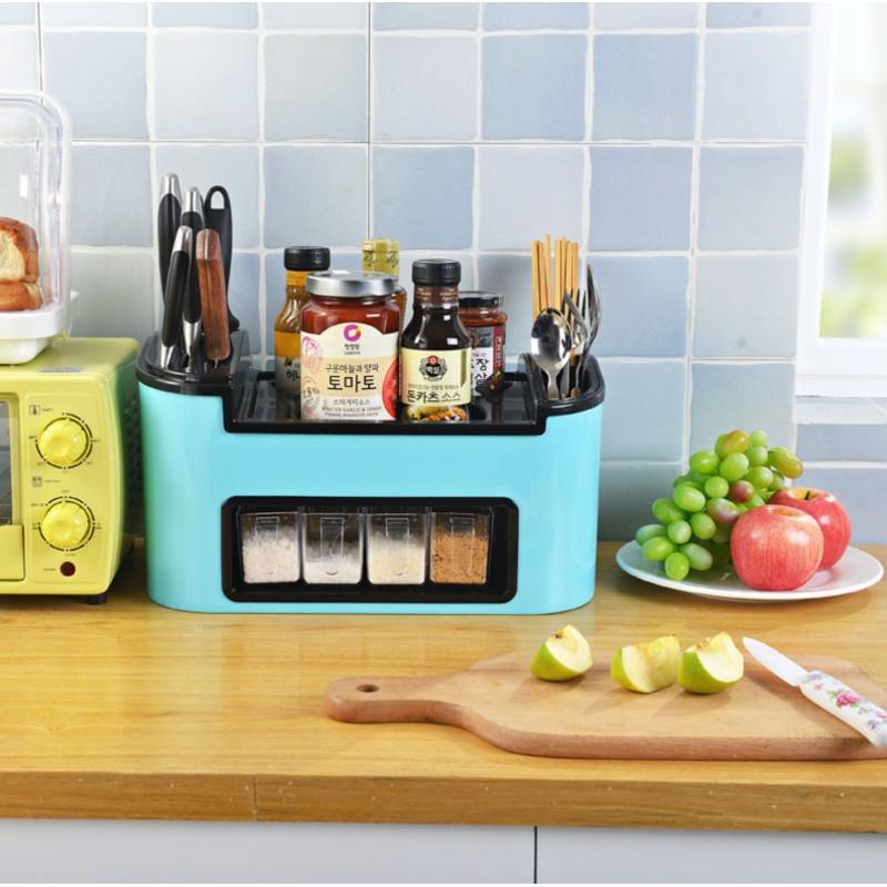 Multifunction Kitchen Rack with Storage Cutlery Organizer & 4 Condiments Box