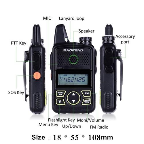 BAOFENG BF-T1 UHF 1W Mini Walkie Talkie - 1KM