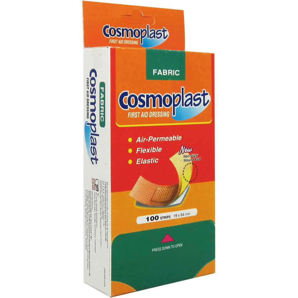 Cosmoplast Fabric Plaster Elastic 100pieces [First Aid Dressing]