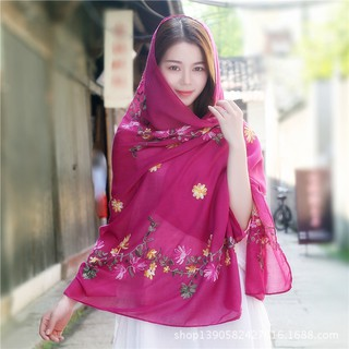 132f0fe680bd9 New Retro Embroidered Cotton Linen Scarf Sunscreen Shawl Flower Embroidery  Scarf | Shopee Malaysia