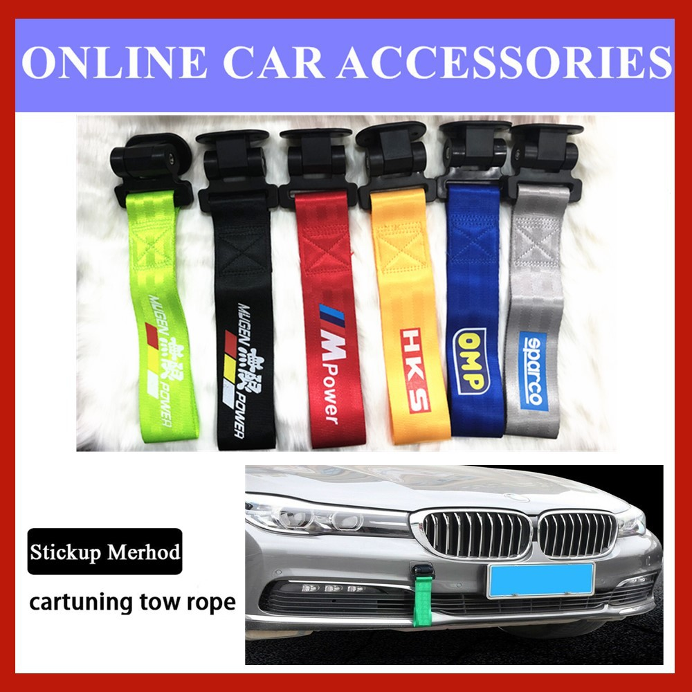Universal Car Tuning Tow Rope sticker style Towing Strap Belt Bumper Hook