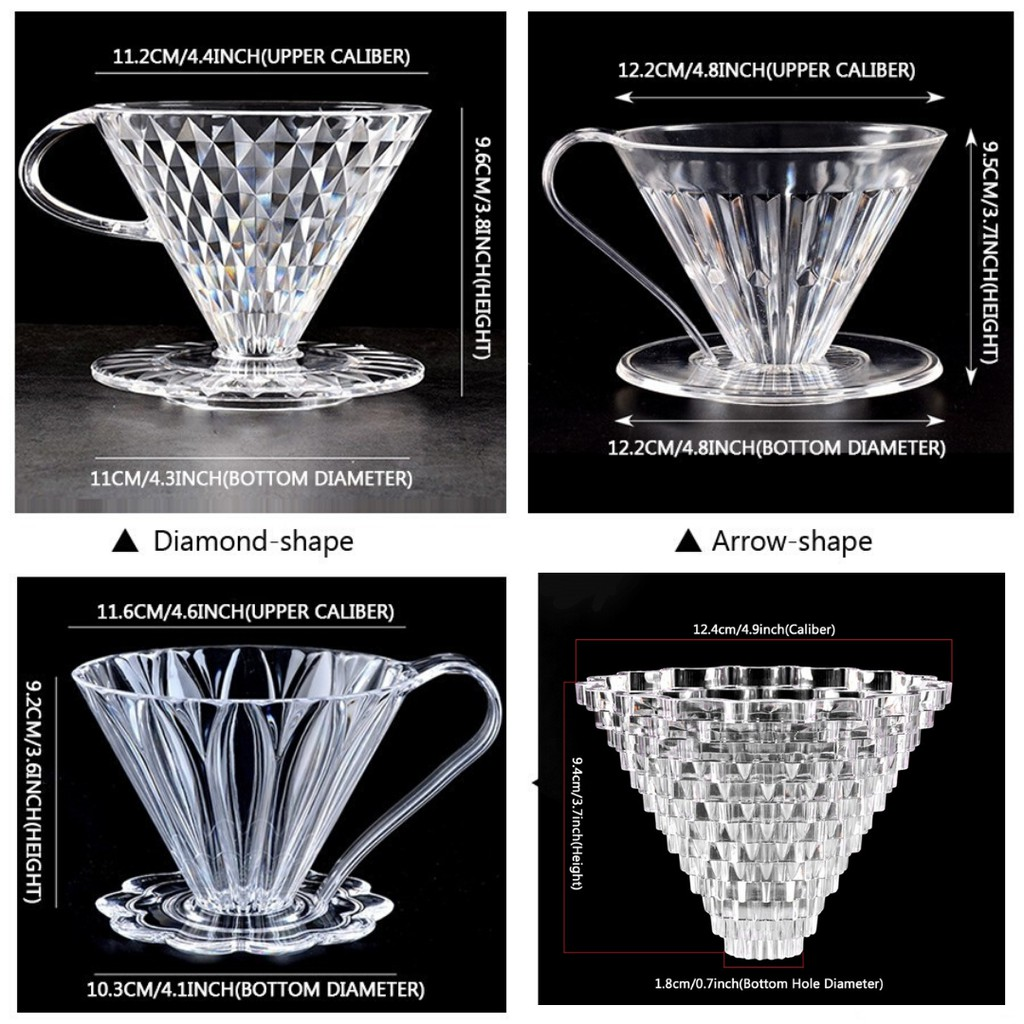V60 (Arrow,Diamond,Petal,Crystal) shape Coffee Dripper 2-4 cups