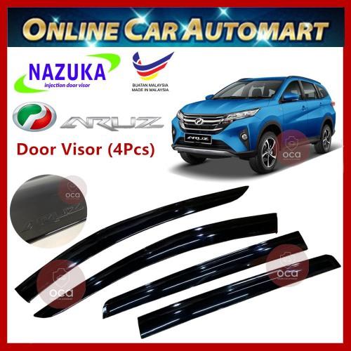 NAZUKA Perodua Aruz 2019 Door Visor With ARUZ Logo AirPress For Car Window(4pcs)