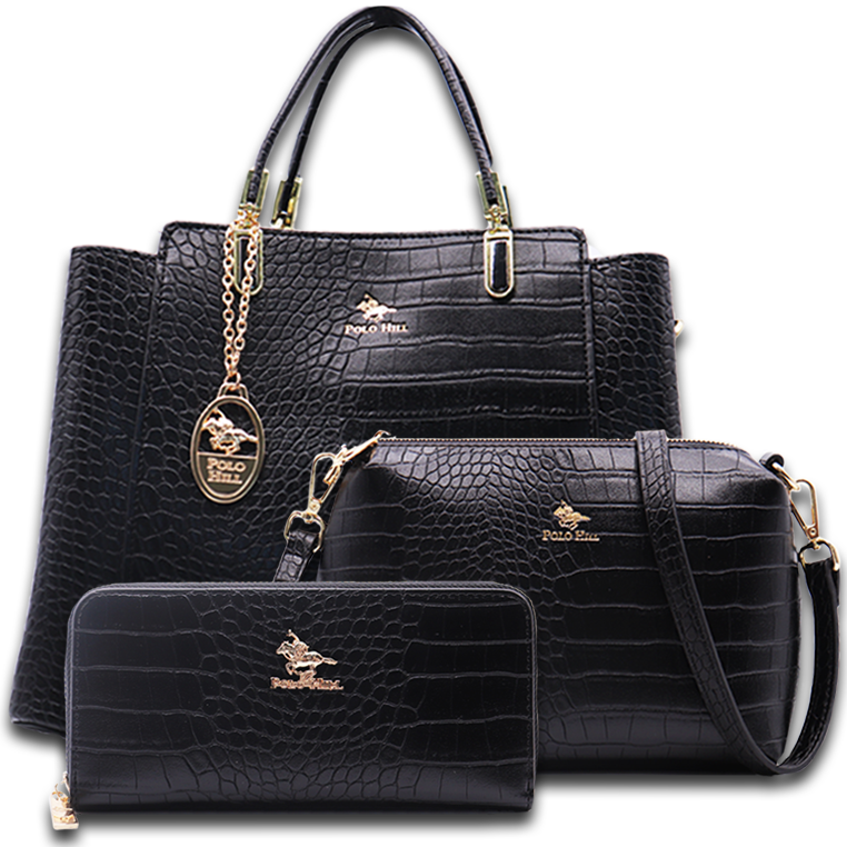 Polo Hill Scaly Textured Tote Bag Set PHV1-0B-219