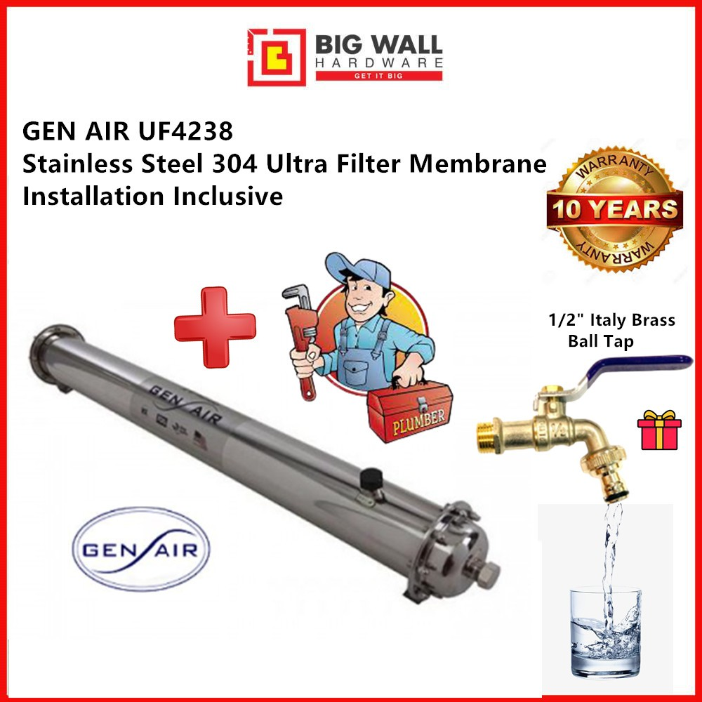 """GEN AIR UF4238  38"""" Stainless Steel 304 Ultra Membrane Filter *FREE tap (Big Wall Hardware)"""