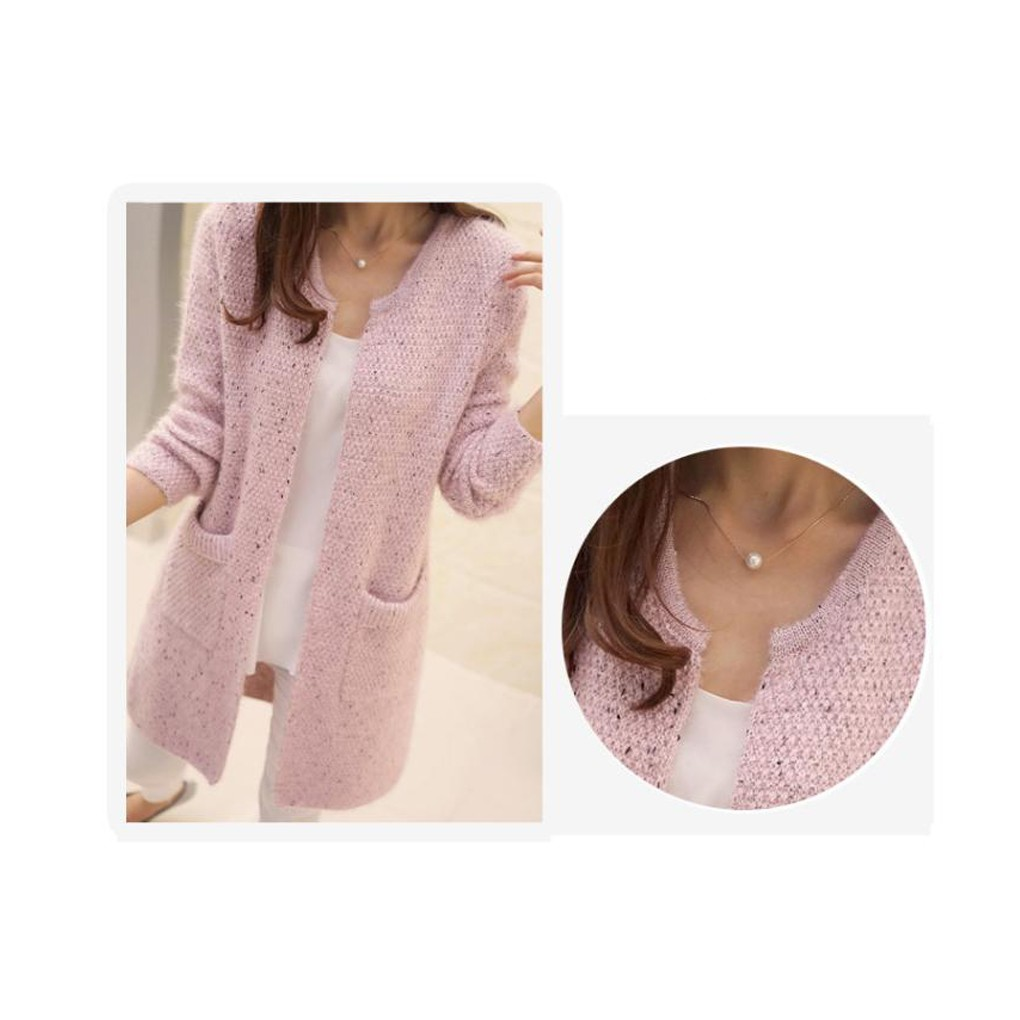 Women SpringAutumn Sweater Long Sleeve Cardigan Korean Slim Pocket Knit Sweater