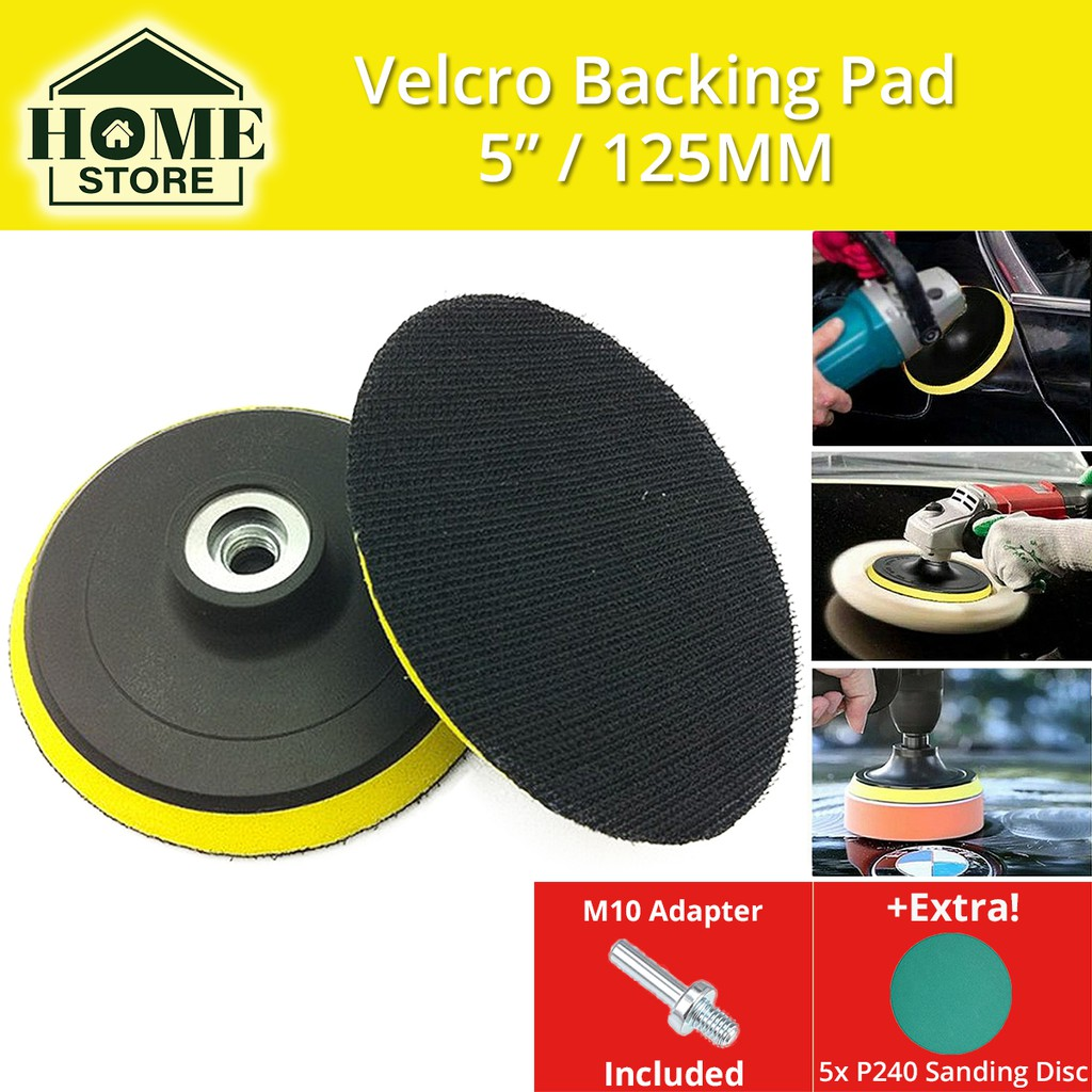 Velcro Backing Pad 5'' (125MM) M10 Thread with Adapter For Angle Grinder / Drill