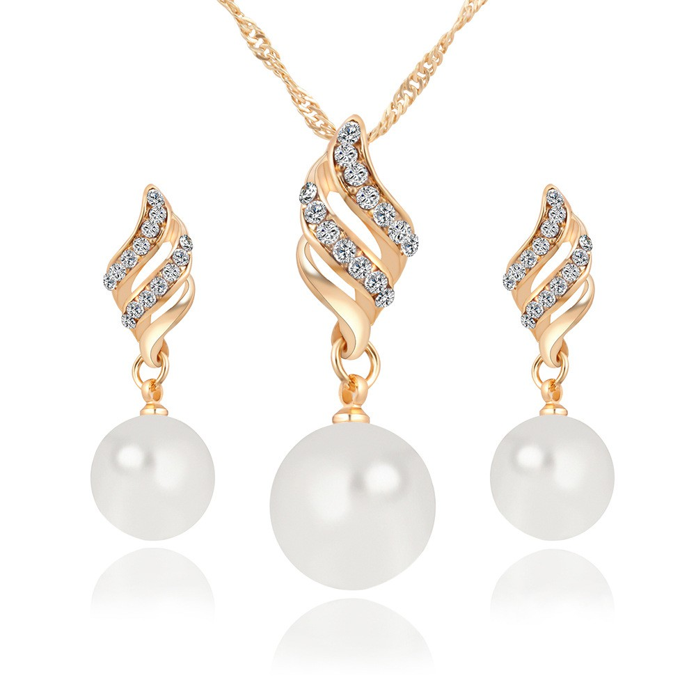 Imitation Pearl Earrings Necklace Set Spiral Simple Wind Jewelry