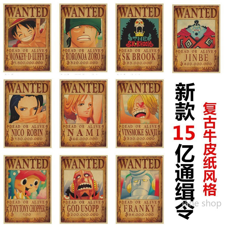Jane Shop15 Billion One Piece Luffy Wanted Posters 5