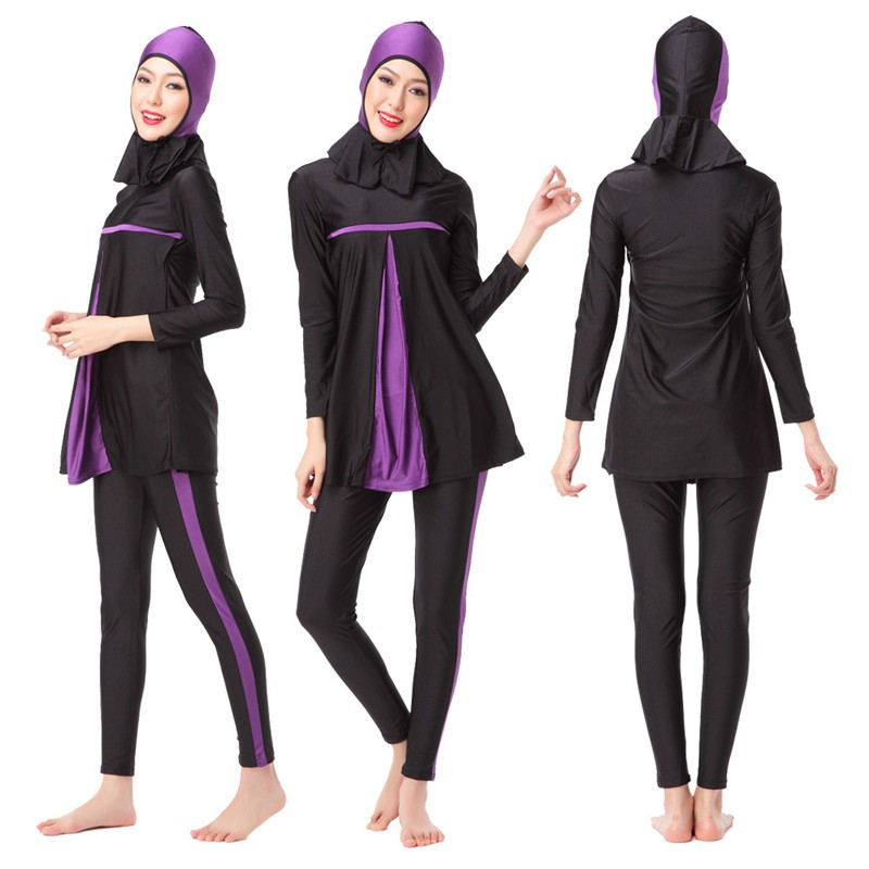 7f89273812cfc Robenana Muslim Swimwear Women Modest Patchwork Hijab Long Sleeve Sport  Swimsuit   Shopee Malaysia