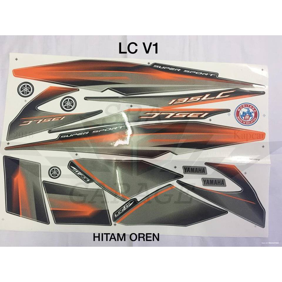 Sticker Stripe Body Set / Coverset LC 135 V1 Moritaka Hitam Oren Black +  Orange Original Yamaha