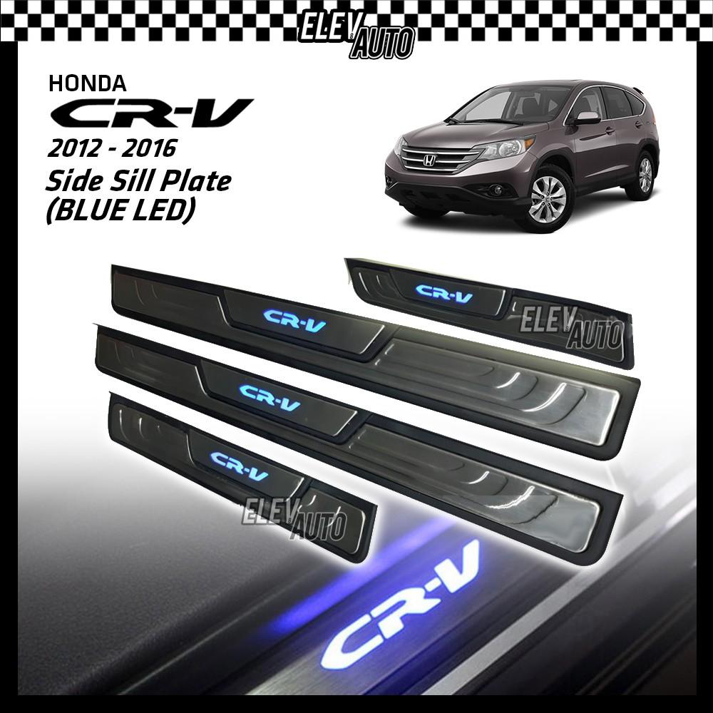 Honda CR-V CRV 2016-2021 BLUE LED Door Side Sill Step Plate (Stainless Steel)