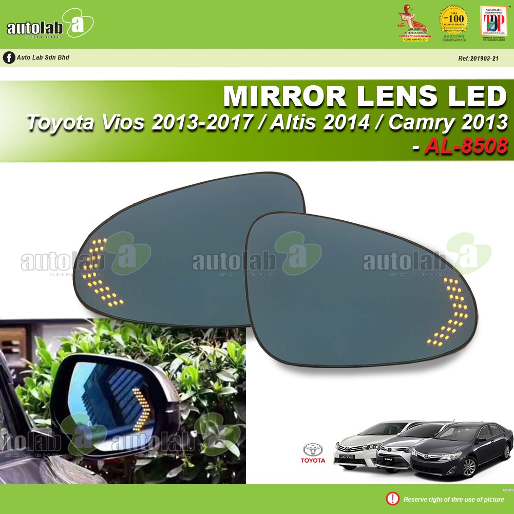 Side Mirror Lens with LED Indicator - Toyota Vios 2013-2017 / Altis 2014 / Camry 2013