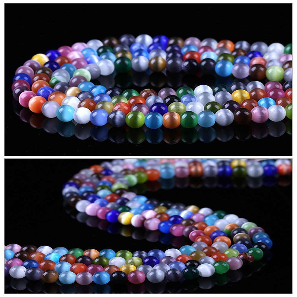 Jewellery DIY Making Crafts Beading 50pcs 6mm Mixed Colour Cats Eye Round Beads