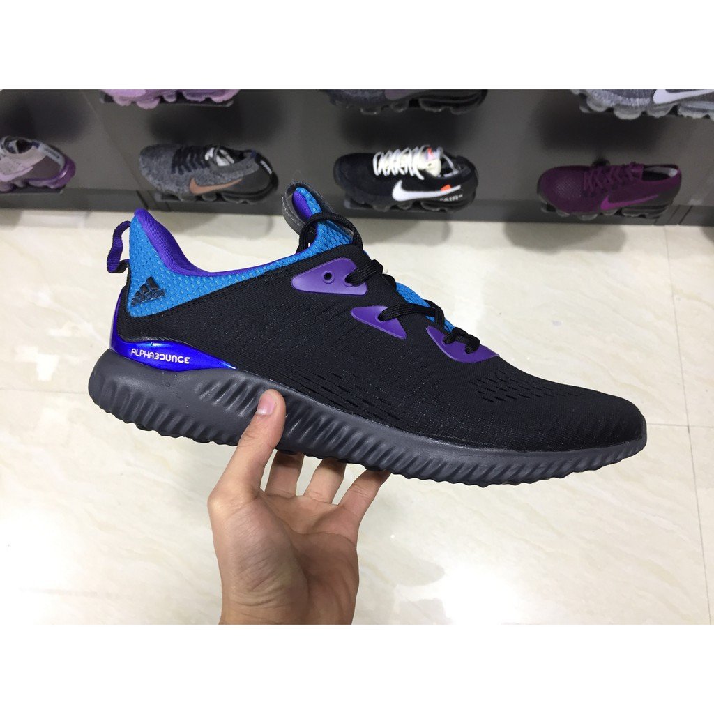 41f9d2d4be8d9 real picture Adidas AlphaBounce 1 Kolor m boost black purple running  shoes40-45