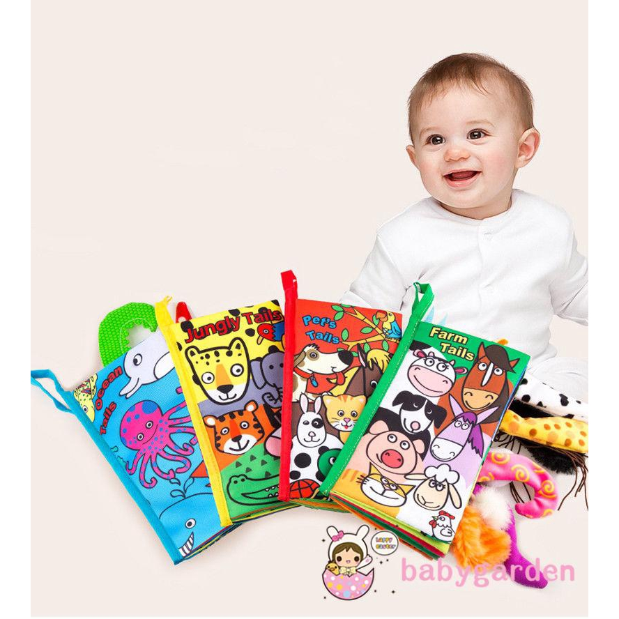 Soft Cloth Books Funny Animal Tails Cloth Book Baby Toy Cloth Development Books Farm Tails Montessori Toy