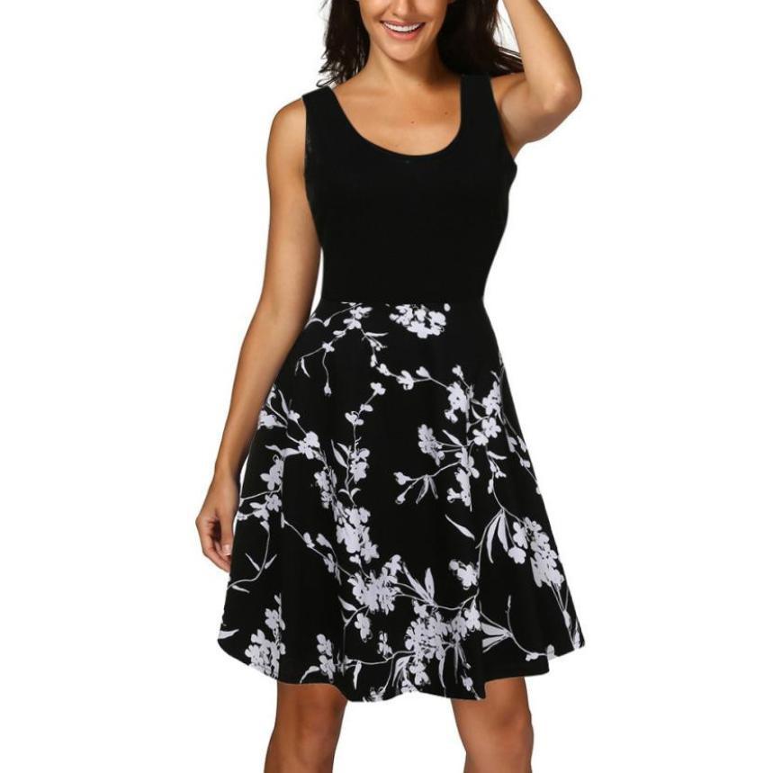 0423a394c7867 Women s Summer Beach Bohemian Dresses Sexy Black Hem Split Long Dress Casual  O