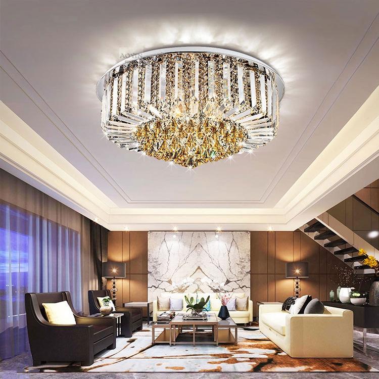 The Latest Austrian Round Circular Living Room Lamp Crystal Lamp Led Ceiling Lamp Atmospheric Hall Lighting Lamps Restau Shopee Malaysia