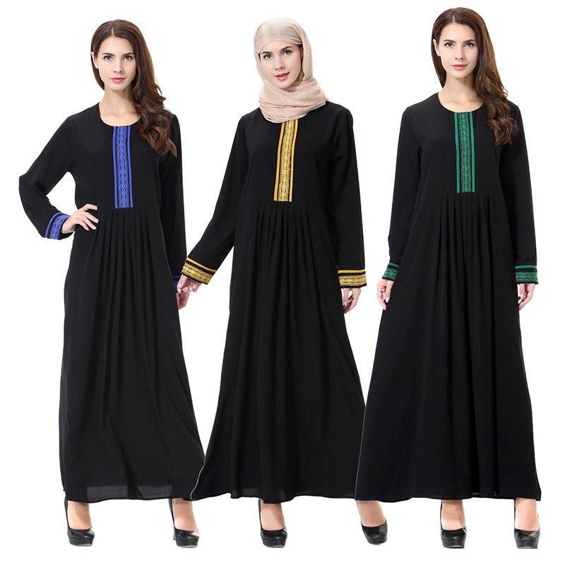 0f97999a1bce ProductImage. ProductImage. Plus Size Arab Abaya Muslim Women Embroidery  Round Neck Long Sleeve Maxi Dress