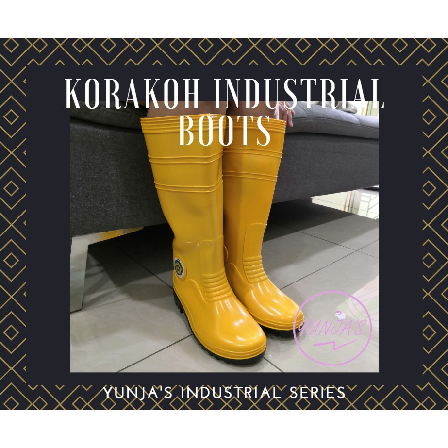[WITH LINING] KORAKOH Industrial Boot Shoe PVC Rubber Yellow Long Boots 7000