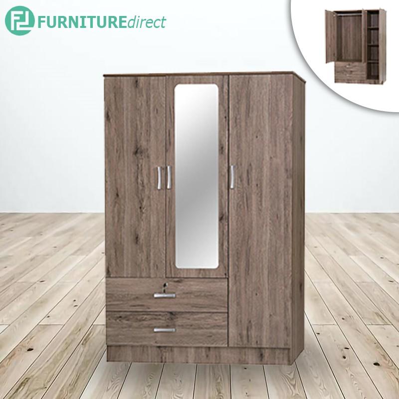 3 DOORS WARDROBE with Mirror | wardrobe clothes | kabinet baju | kabinet diy | kabinet ikea | wood cabinet | ikea