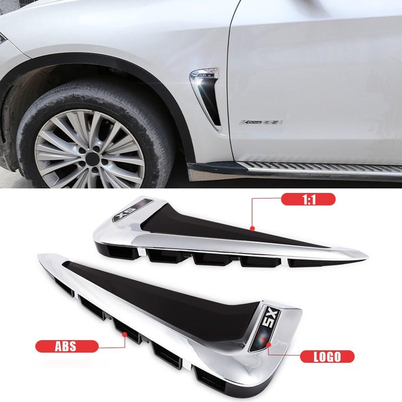 Black+M Car Xdrive Emblem Shark Gills Side Air Flow Fender Vent Decoration Cover Trim for BMW X5 f15 X5M F85 2014-2018
