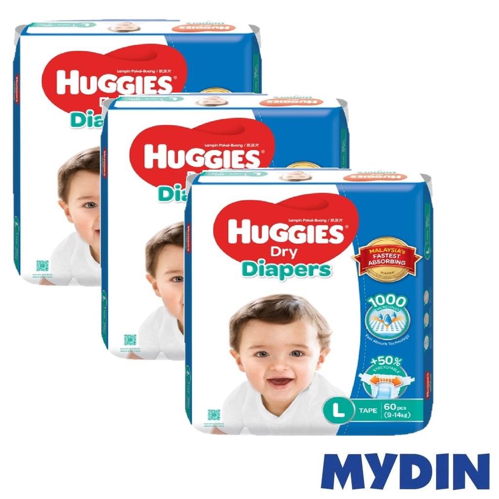 Huggies Dry Diapers L60 x 3 packs