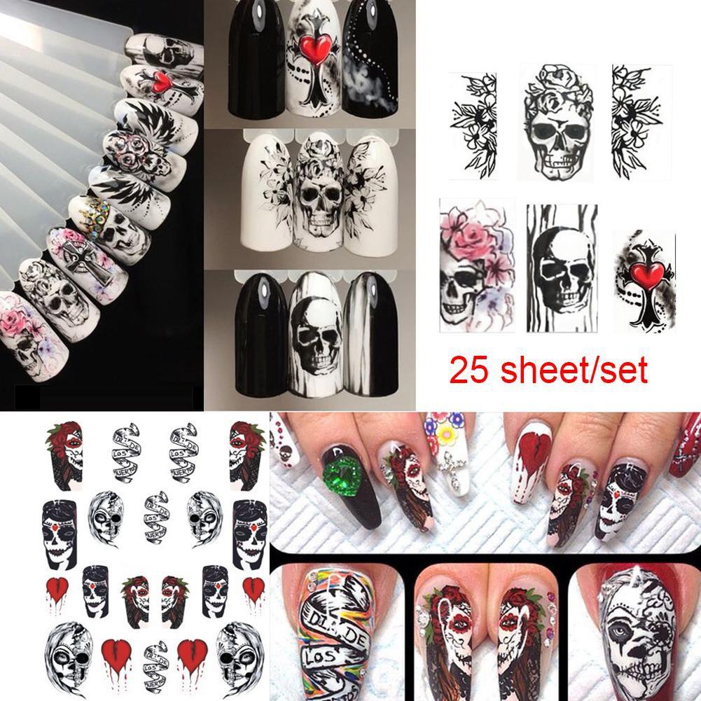 25sheet Halloween Nail Sticker Water Self Adhesive Nail Art Tattoo Decals