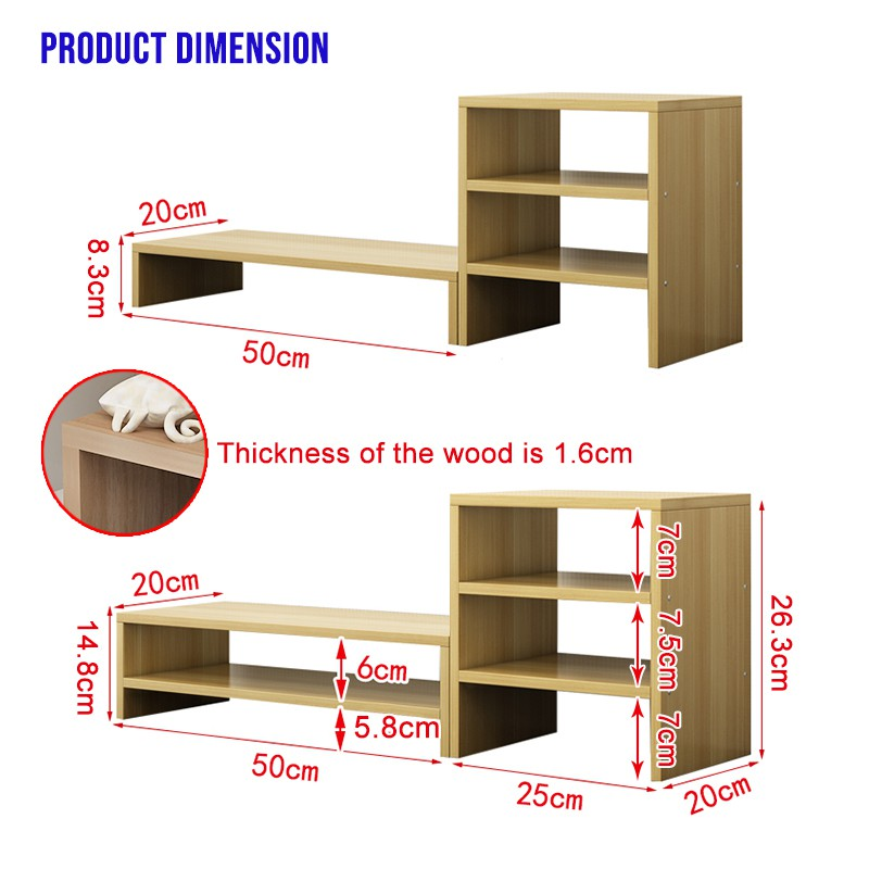 Wood Computer Monitor Stand Riser for Home Office (Single Layer)