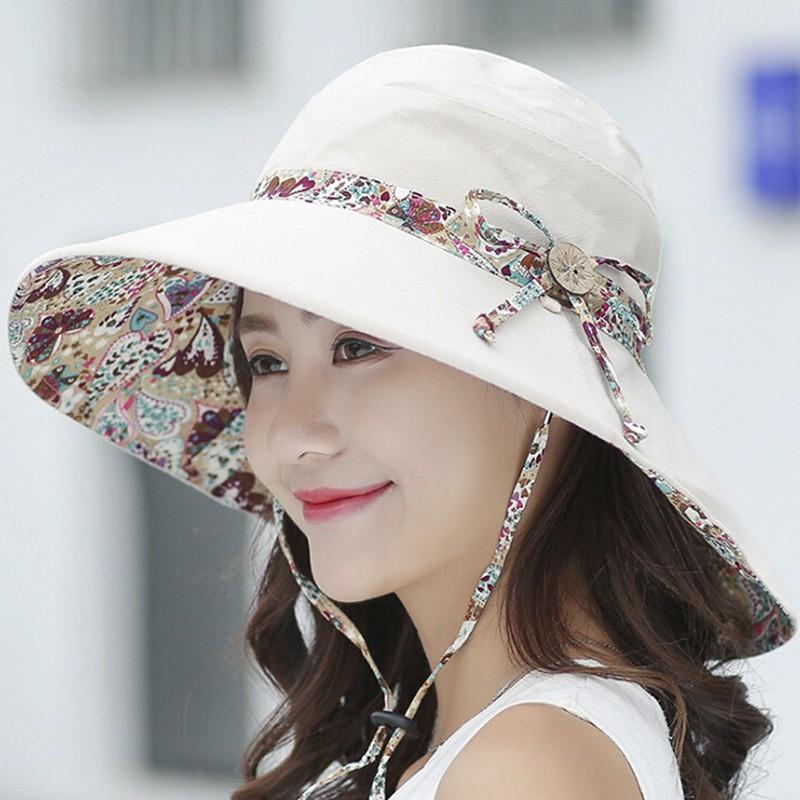 7c05b8fa6 【FA】Women Summer Beach Travel Bowknot Wide Brim Sun Hat Reversible Foldable  Cap[MY]