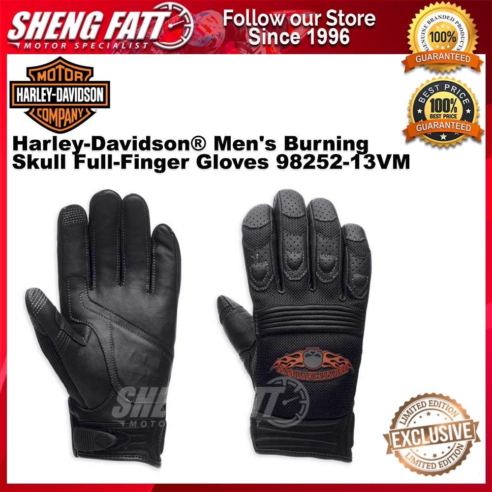Harley-Davidson® Men's Burning Skull Full-Finger Gloves 98252-13VM