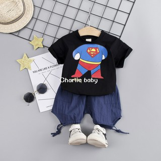 Baby Boys Cartoon Fish Embroidered T-Shirts and Kids Baby Plaid Shorts Outfits