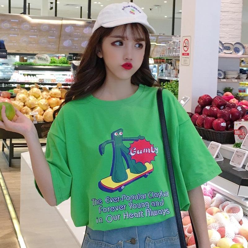 96e5fb9dc4 2019 summer women new Korean version of ulzzang Harajuku BF wind cartoon  print loose student short-sleeved t-shirt tide