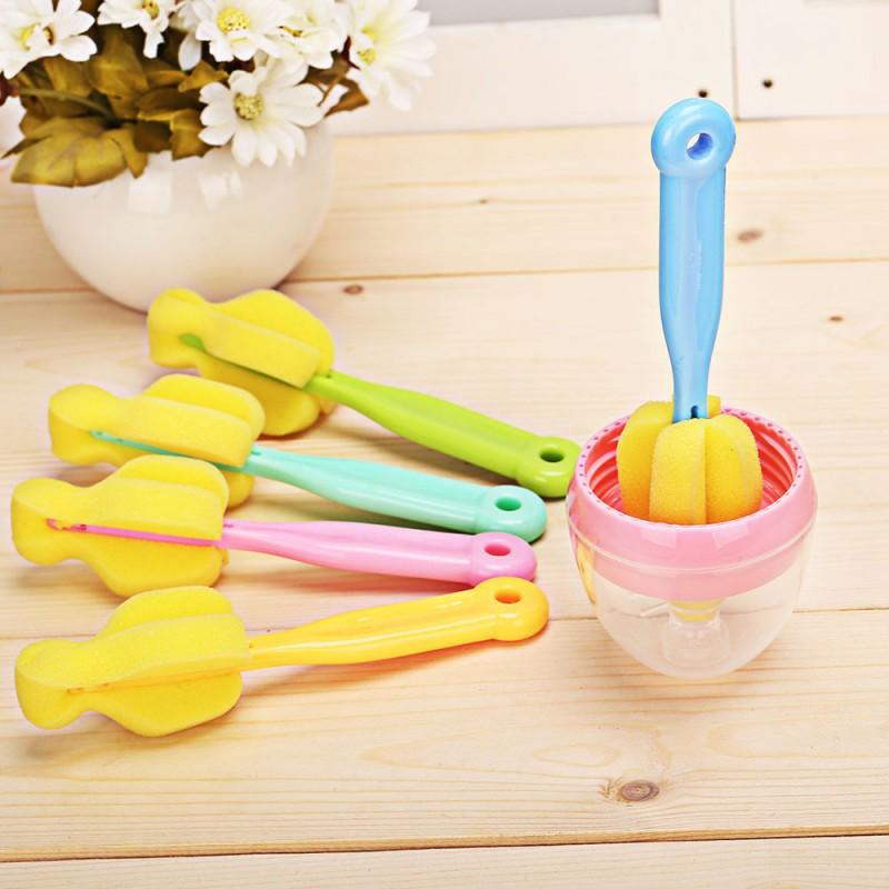 Newborn Baby Bottle Sponge Long Handle Brush Feeding Milk Bottle Brush Clean SP