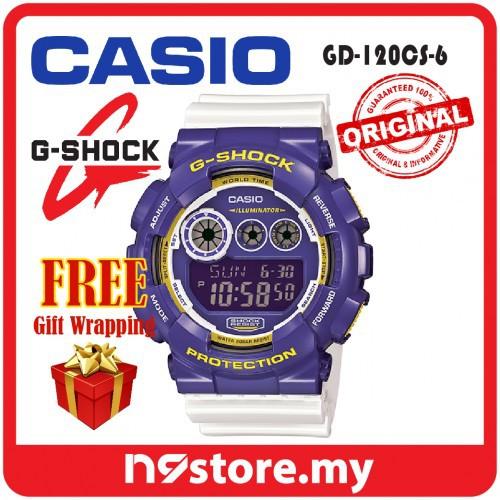 3dd797a13585 Casio G-Shock GD-120CS-6 Digital Purple White Crazy Color Sports Watch