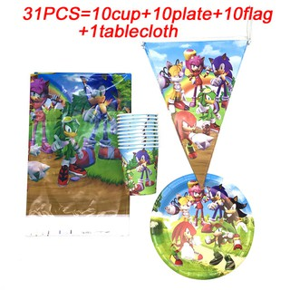 10kids Use 51pcs Sega Super Hero Sonic The Hedgehog Party Decoration Kids Banners Birthday Party Supplies Cups Plates Tablecloth Sonic Napkins Shopee Malaysia