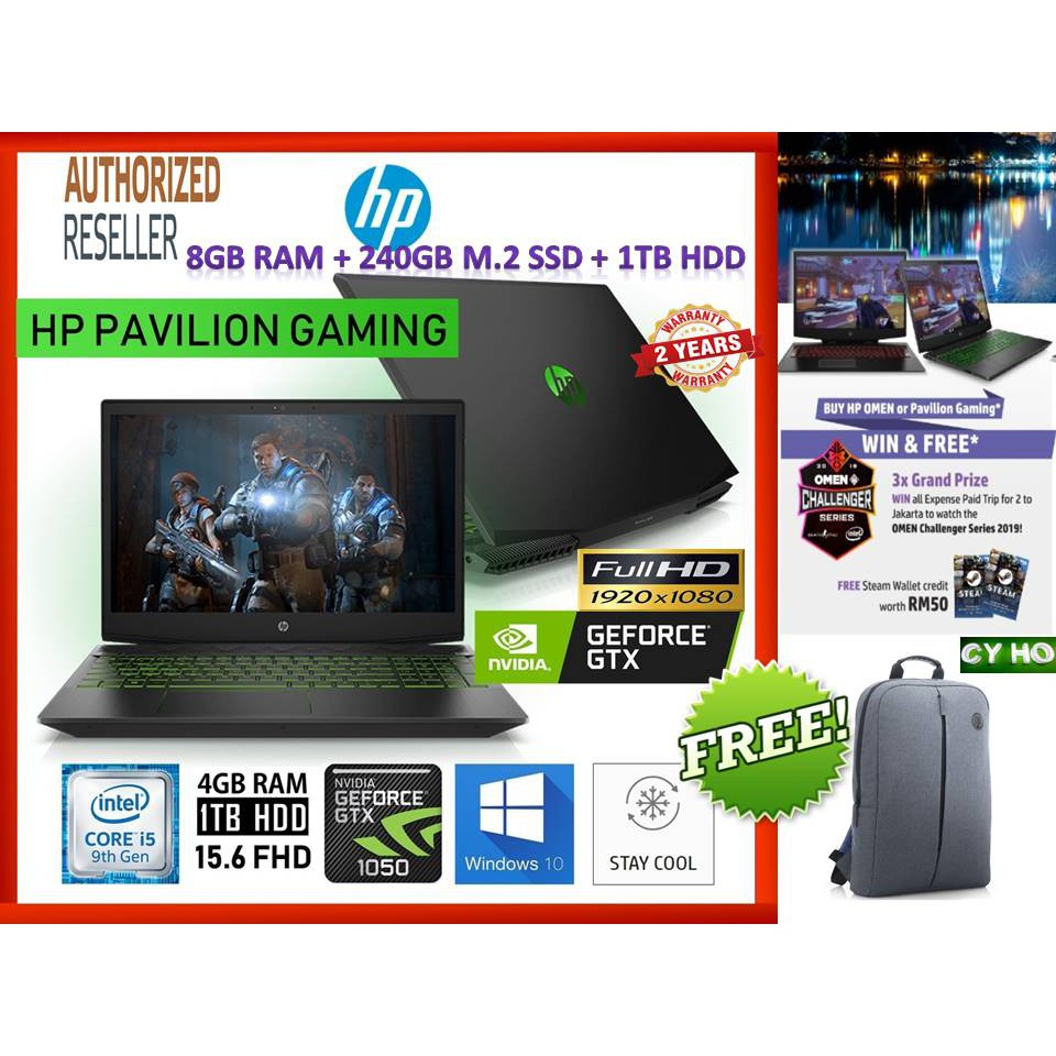 HP PAVILION GAMING 15-DK0010TX **FREE:- RM50 STEAM WALLET CREDIT**  (I5-9300H/4GB/1TB/15 6 FHD/GTX1050 4GB/W10/2YRS)