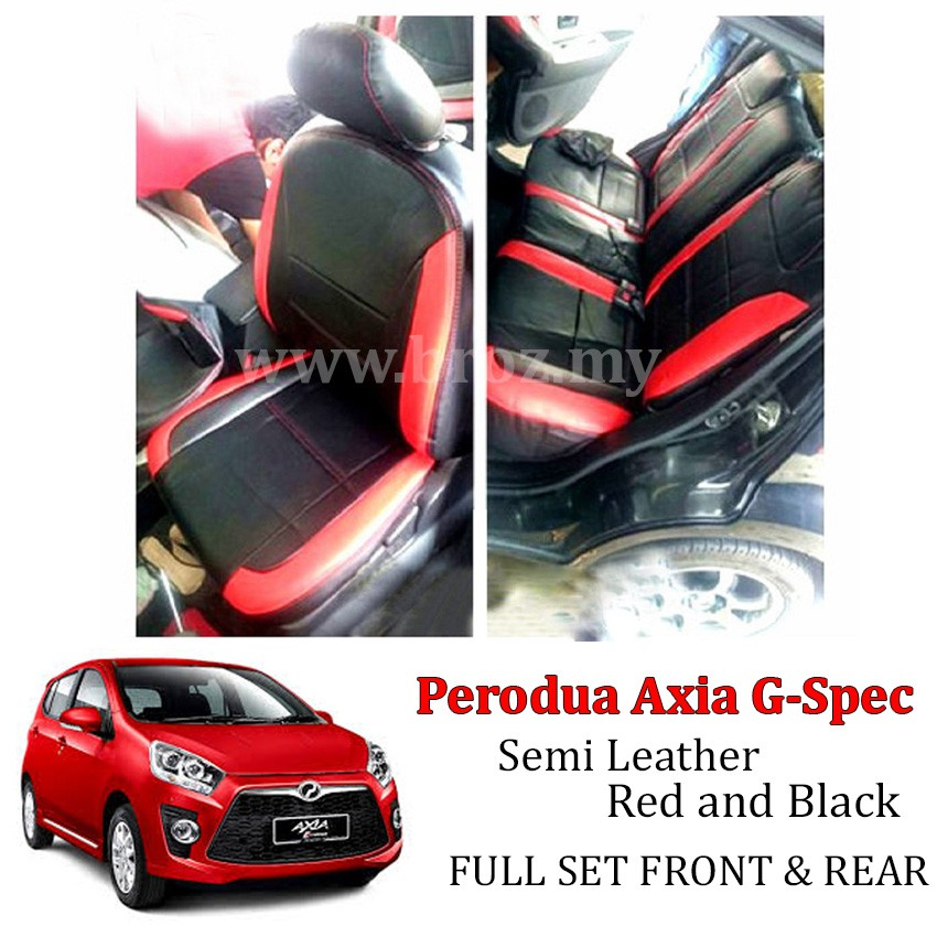 Car Seat Cover Case Semi Leather Red Black Perodua Axia G Spec Car Cushion  Cover