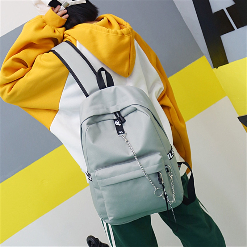 Chain Decoration Small Fresh Pure Color Shoulder Bag Casual Backpack