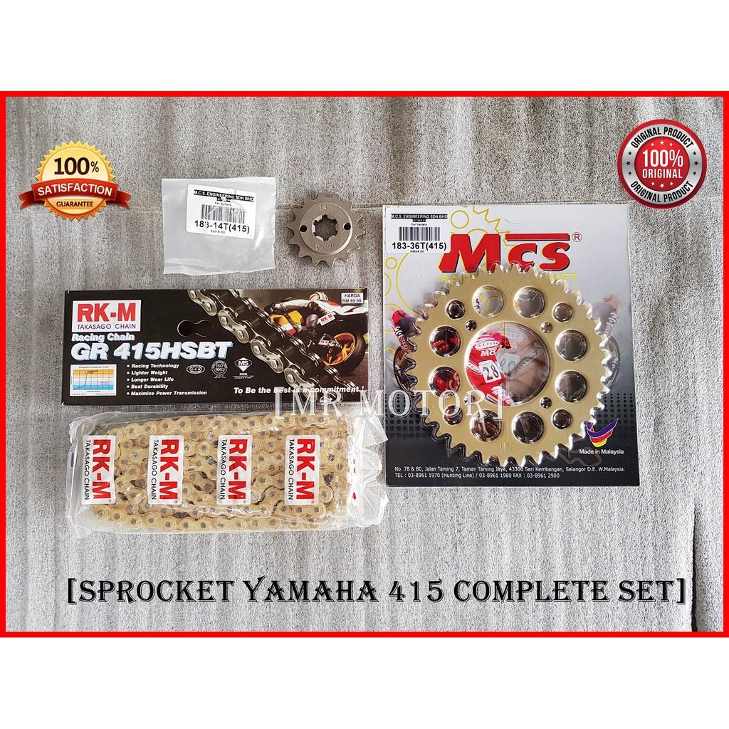 Chain 415 RKM Sprocket 415 MCS Gold SET Yamaha Y125Z , LC135 , SRL110 , RXZ
