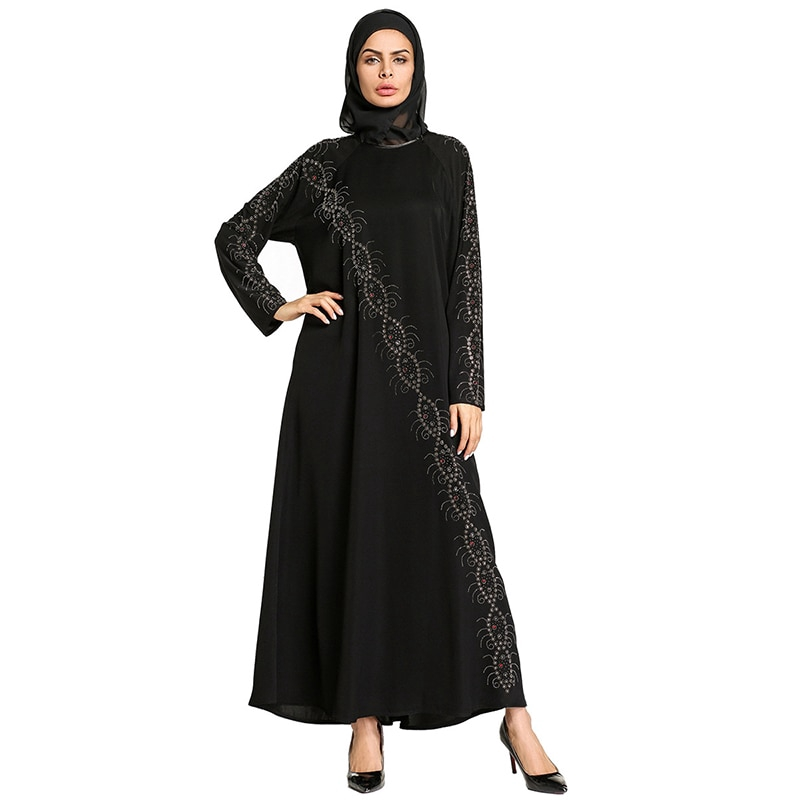 8c6f687220114 Muslim Abaya Black Maxi Dress Lace Kimono Diamonds Long Robe Gowns Hijab  Loose Style Jubah Ramadan Islamic Clothing