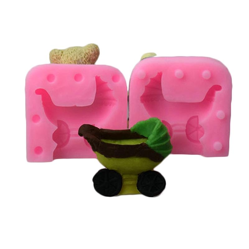 Beautiful Baby Stroller Candle Soap Mold Fondant Sugar Chocolate Cake Hot Sa