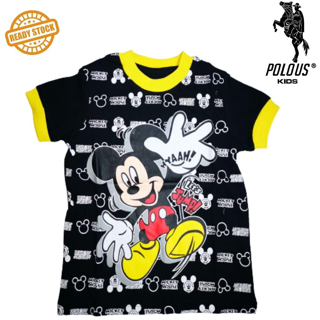 POLOUS Boy Cotton Short Sleeve Round Neck Shirt 9003-MICKEY