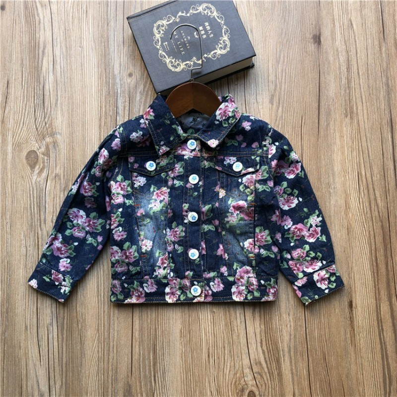 Baby Toddler Girls Long Sleeve Lace Princess Denim Jacket Girls Cowboy Cardigan Outwear Coat