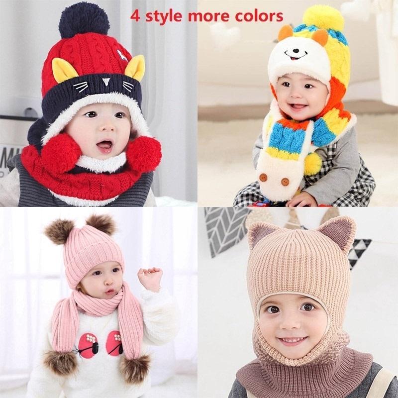 0-3 Years Child Warm Hat Baby Boy Girl Beanie Thin Winter Crochet Ball Cap Hats