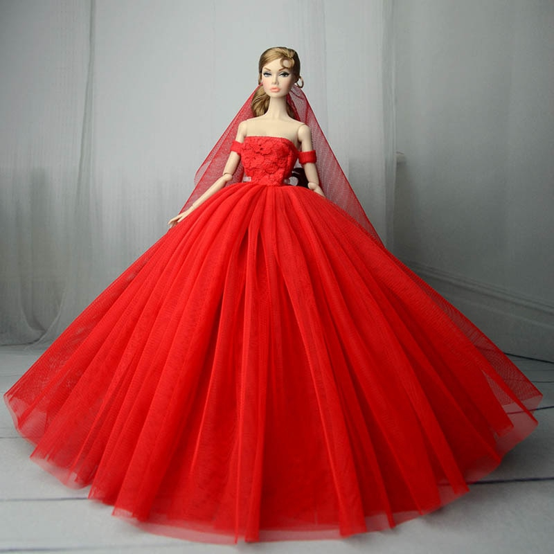 Handmade Red Dress Wedding Party Mini Gown Clothes For 18-inch Girl dolls.