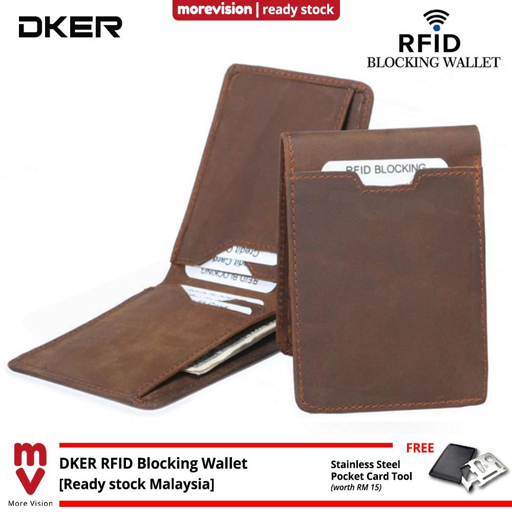 RFID Blocking Men wallet Genuine leather Cowhide Card Holder With Money Clip