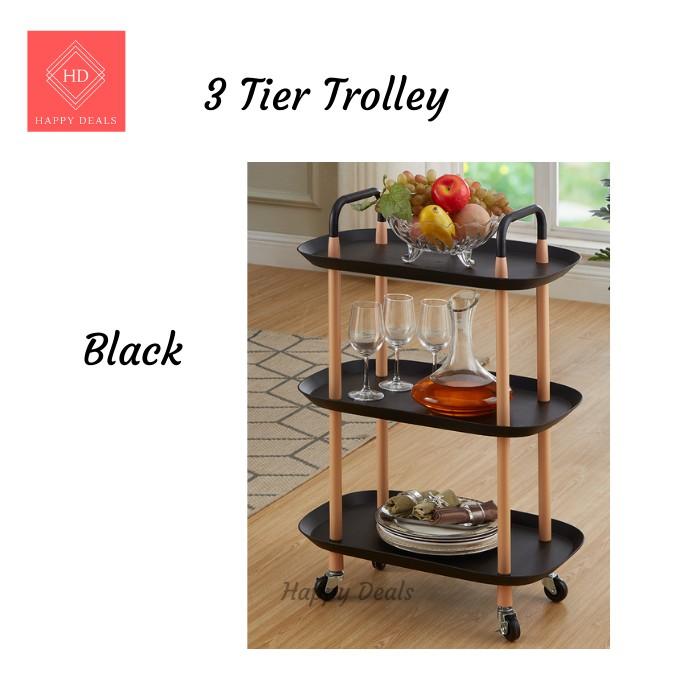 Happy Deals Luxury Nordic Trolley 3 tier wheeled Trolley storage Rack living room kitchen Multipurpose Storage Rack
