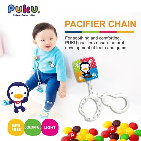 Ready Stock Puku Baby Soother Pacifier Chain Clip Colourful P11112 彩虹糖奶嘴鍊