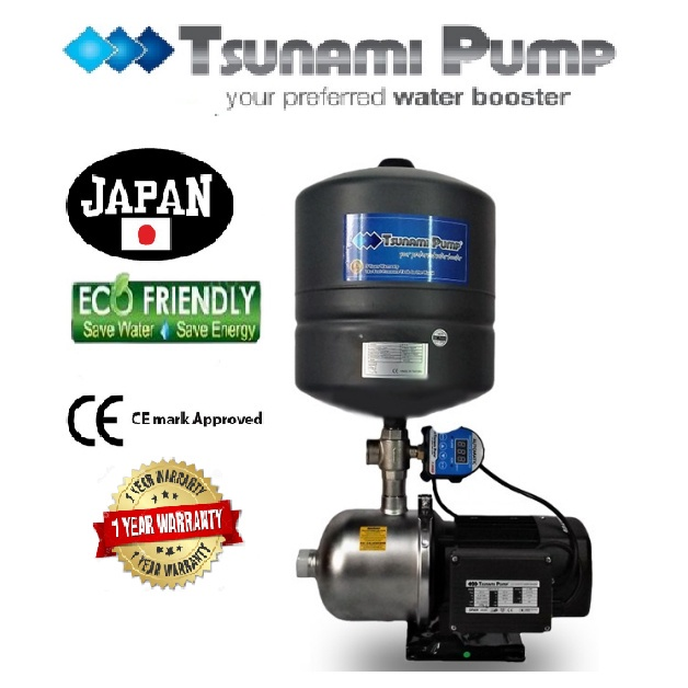 Tsunami CMF2-30-IPT Food Grade Stainless Steel Casing Home Auto Booster Pressure Water Pump【1 Year Warranty】